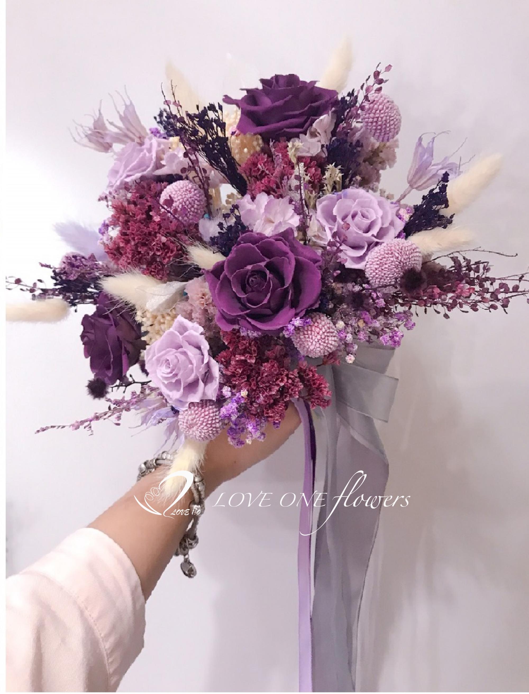 紫色乾燥花捧花2600