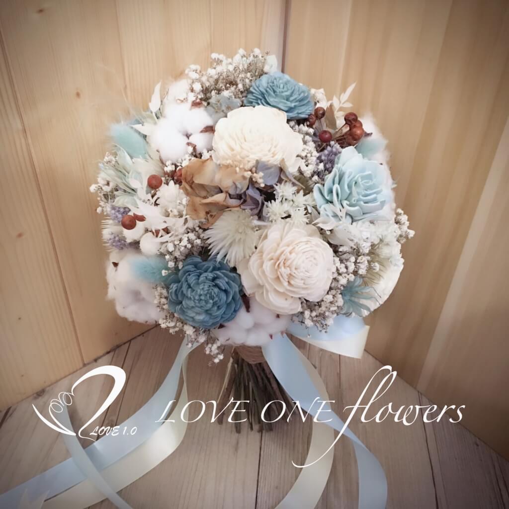 藍色乾燥花捧花1338